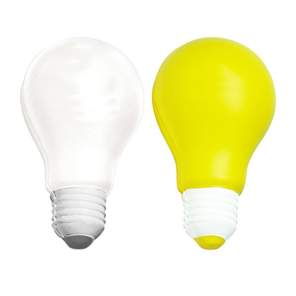 Promotional Light Bulb Squeezies Stress Reliever - White or Yellow