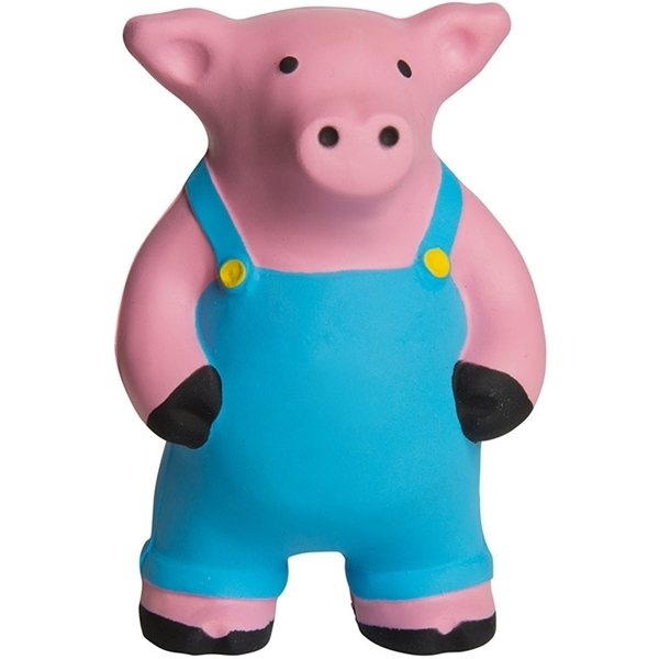 Promotional Farmer Pig Squeezies Stress Reliever