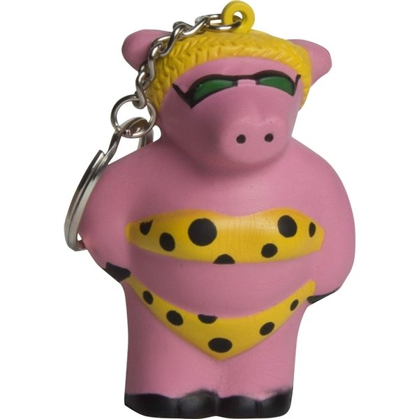 Promotional Cool Beach Pig Squeezie Keyring - Stress reliever