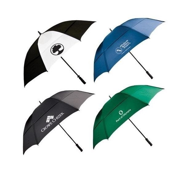 Promotional 62 Wind - Resistant Golf Umbrella with Fiberglass Shaft and Ribs