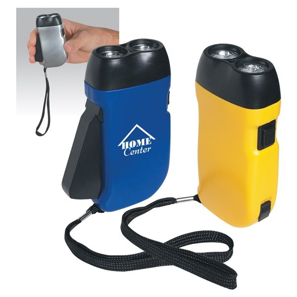 Promotional Hand Squeeze Flashlight With Wrist Strap