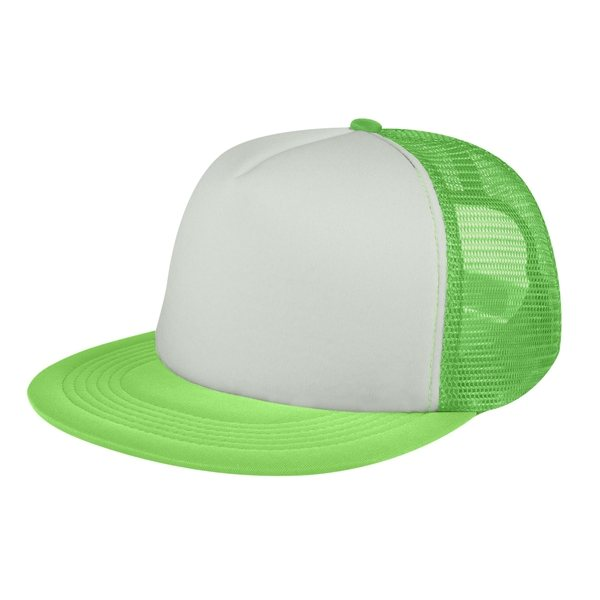 470a9e66dcf959 ... Promotional Custom Flat Bill Trucker Cap With Multi Color Choices ...