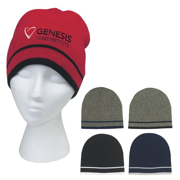 Promotional Knit Beanie With Double Stripe