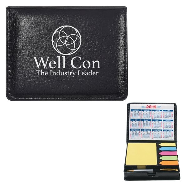 Promotional Square Leather Look Case Of Sticky Notes With Calendar Pen