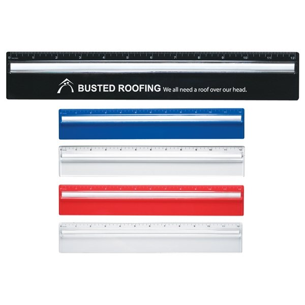 Promotional Plastic 12 Ruler With Magnifying Glass