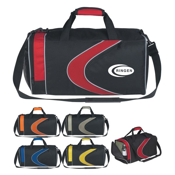 Promotional Polyester Sports Duffel Bag with Microfiber Mesh