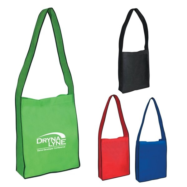 Promotional Non - Woven Messenger Tote Bag With Hook And Loop Closure