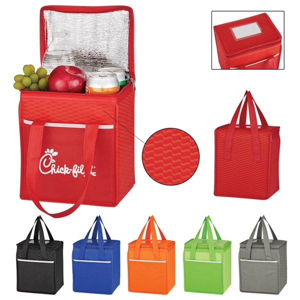 Promotional Wave Design Non - Woven Cooler Lunch Bag