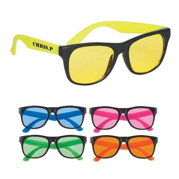 Promotional Tinted Lenses Rubberized Sunglasses