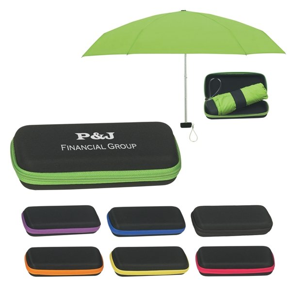 Promotional 37 Arc Folding Travel Umbrella With Eva Case