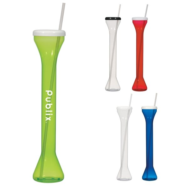 Promotional 24 oz Yard Cup With Straw