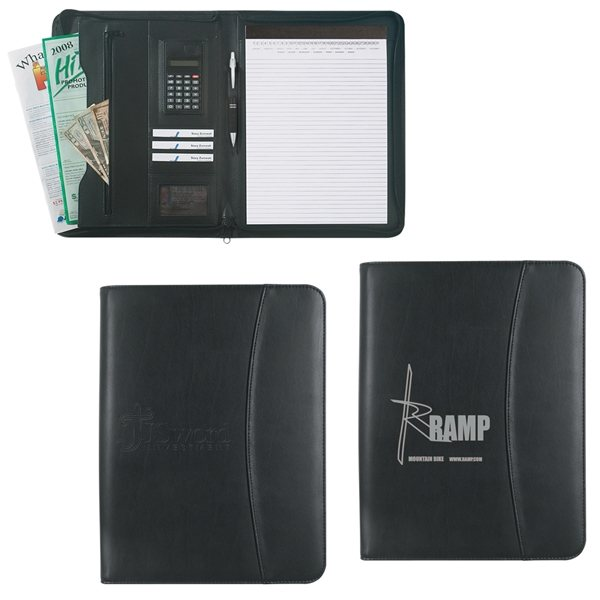 Promotional Leather Look 8 X 11 Zippered Portfolio With Calculator