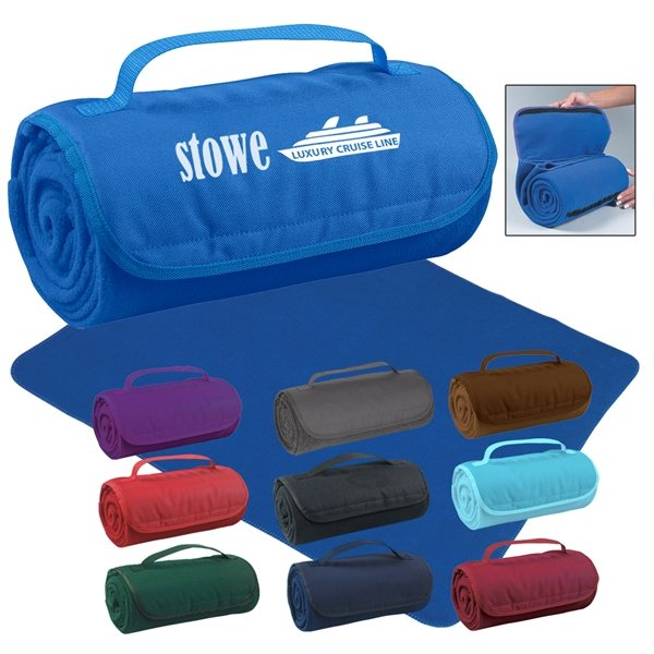 Promotional Large Roll - Up Velcro Closure Blanket