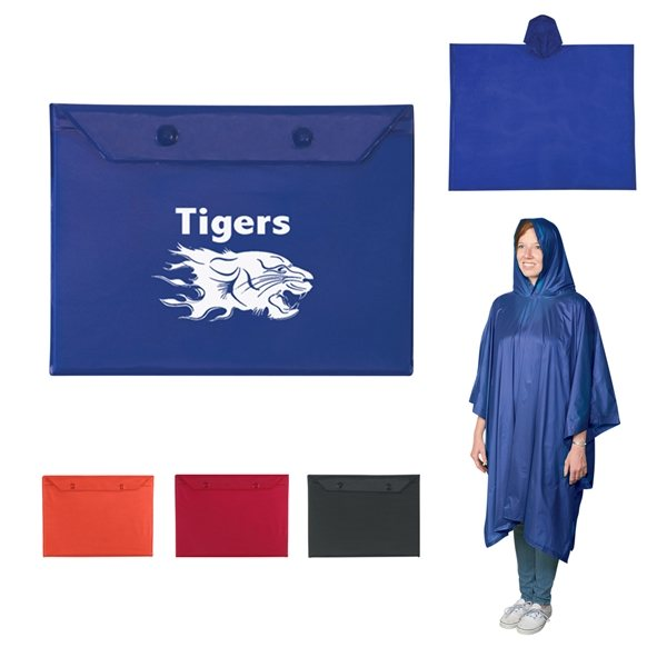 Promotional Adult Poncho with Snap Pouch