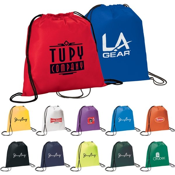 Promotional Non Woven Multi Color The Evergreen Drawstring Cinch Backpack 14.5 X 14.5