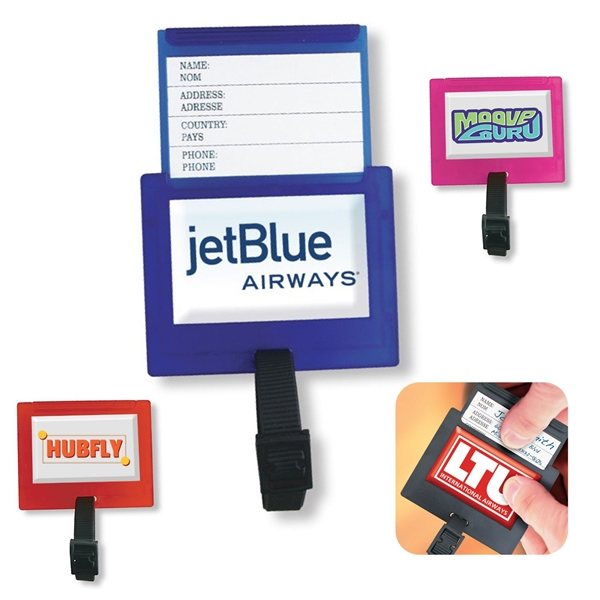 Promotional Square Plastic Luggage Tag w / ID Slider 3 x 2-1/2