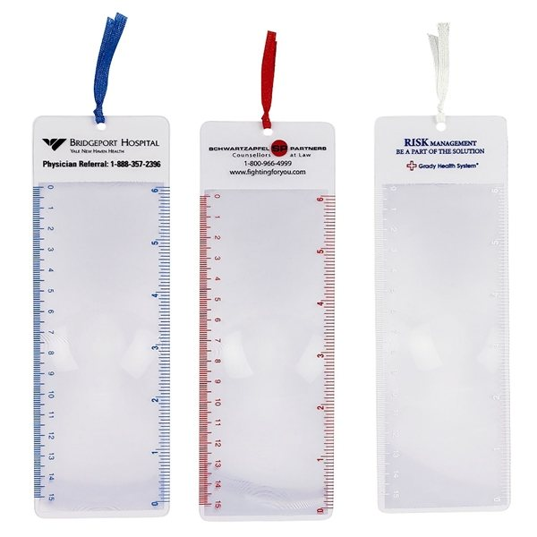 Promotional Magnifier Bookmark Ruler With Ribbon