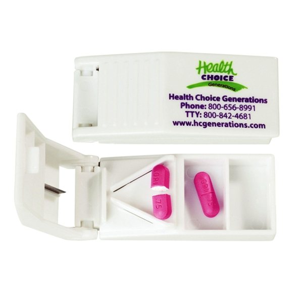 Promotional 2 Compartment Pill Box and Cutter