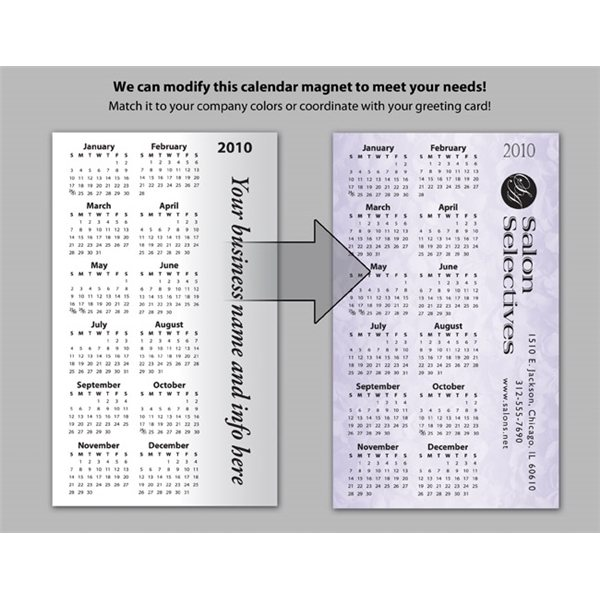Promotional Vertical Oriented Calendar / Logo on Side - Executive Greeting Cards Stock Magnet Designs