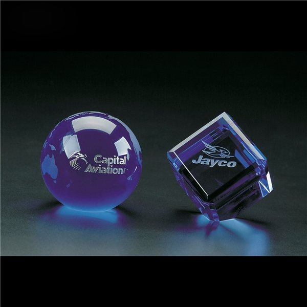 Promotional Clearaward Blue Cube (2 3/8)