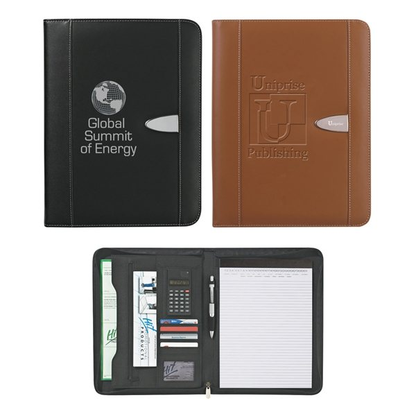 Promotional Eclipse Bonded Leather 8 X 11 Zippered Portfolio With Calculator