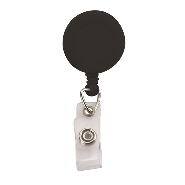 Promotional Round Retractable Zip Cord with Epoxy Dome and Vinyl Snap Attachment - Bulldog Clip on Back