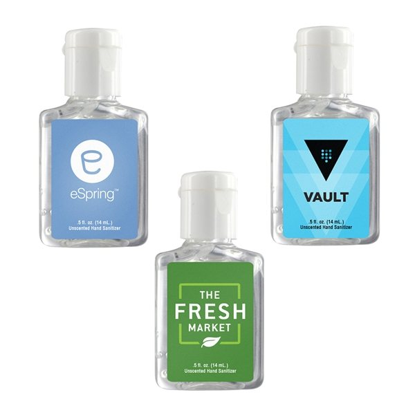 Promotional 0.5 oz Clear Sanitizer in Clear Bottle