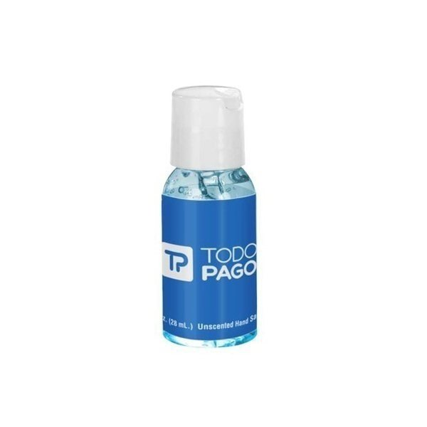 Promotional 1 oz Tinted Sanitizer in Clear Round Bottle