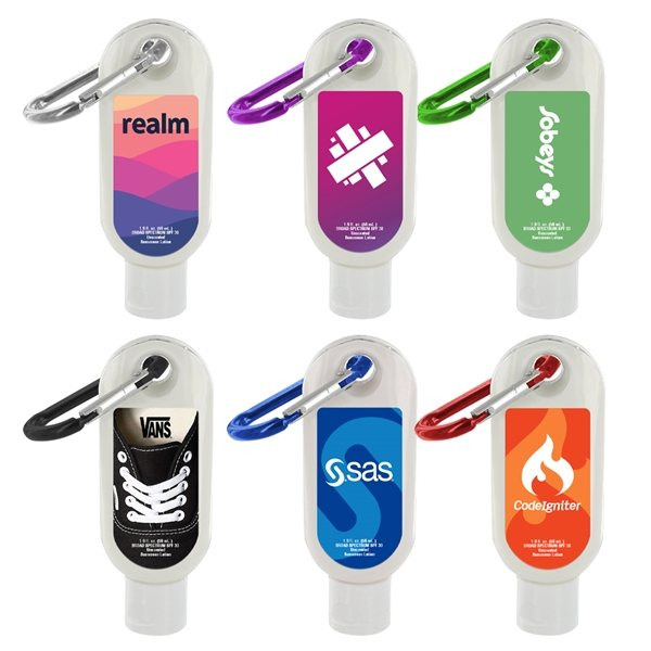 Promotional 1.9 oz SPF 30 Sunscreen in Clear Bottle with Carabiner