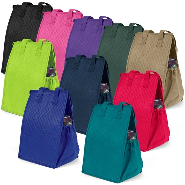 Promotional Non Woven Multi Color Thermosnack Lunch Style Zippin Tote Bag 8 X 12