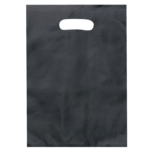 Promotional Frosted Plastic Foil Hot Stamp Multi Color Die Cut Diana Handle Bag 9.5 X 14