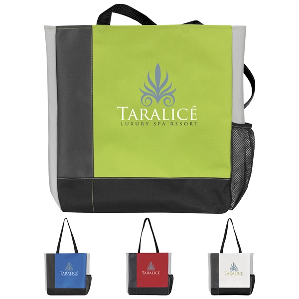 Promotional Tri - Tone Polyester Tote Bag - 14.5 x 15.5