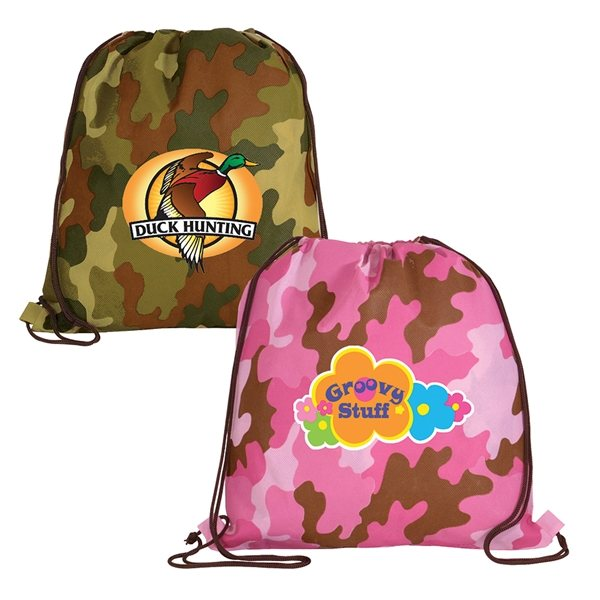 Promotional Non - Woven Camo Drawstring Backpack, Full Color Digital