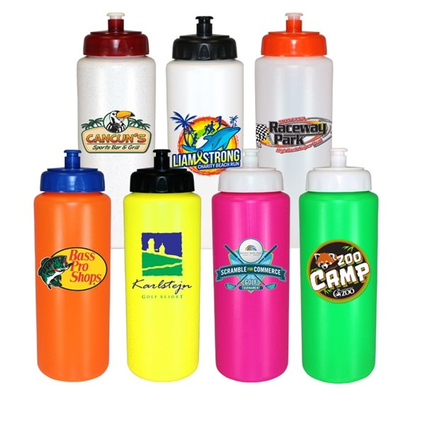 Promotional 32 oz Sports Bottle with Push n Pull Cap (1 Side), Full Color Digital - BPA Free
