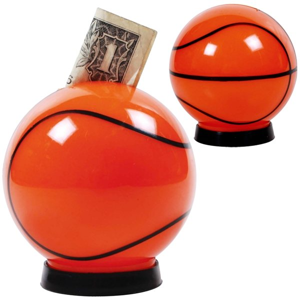 Promotional Plastic basketball - shaped coin bank
