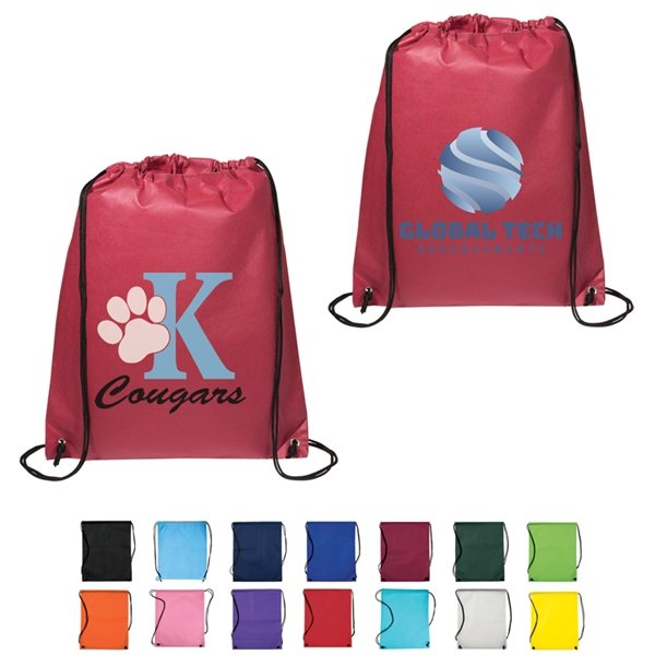 Promotional Non Woven Multi Color Drawstring Cinch - Up Backpack 14.5 X 17.5