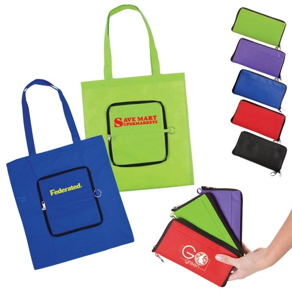 Promotional Non Woven Multi Color Slim Pouch Zippin Tote Bag 13.4 X 14.5