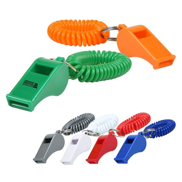 Promotional Whistle Keychain w / Coil
