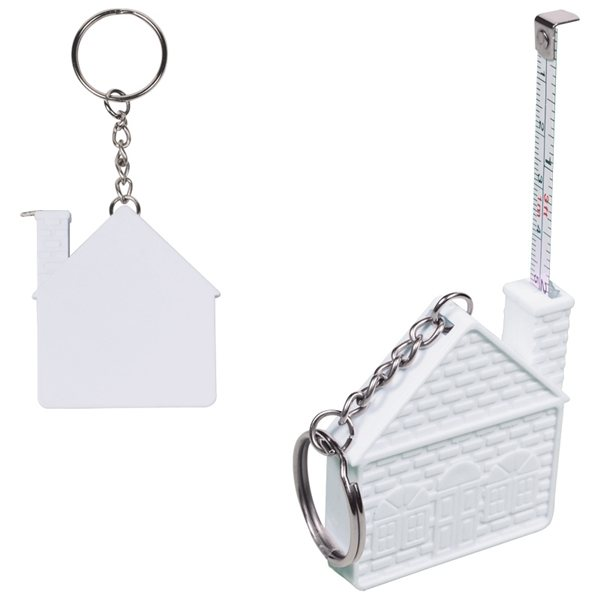 Promotional 3 Ft. House Tape Measure Key Chain