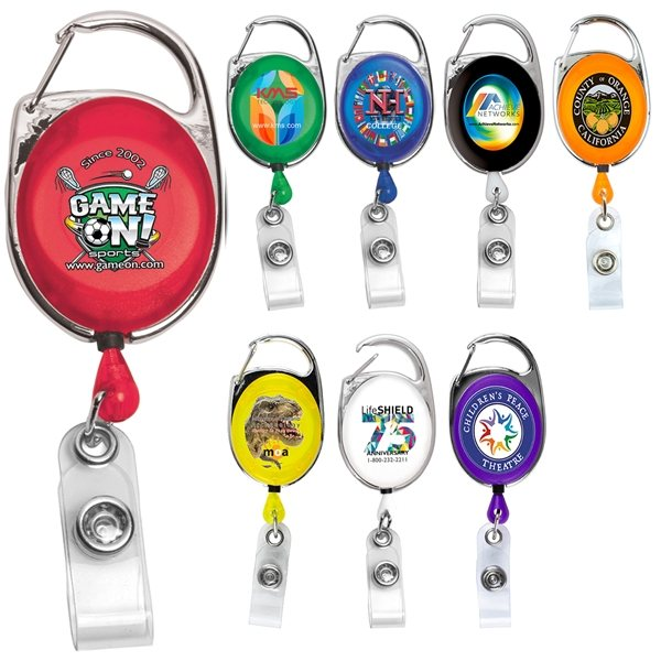 Promotional 30 Cord Retractable Carabiner Style Badge Reel Badge Holder
