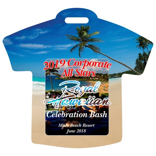 Promotional Stock Shape Beach Scene T - Shirt Luggage Bag Tag