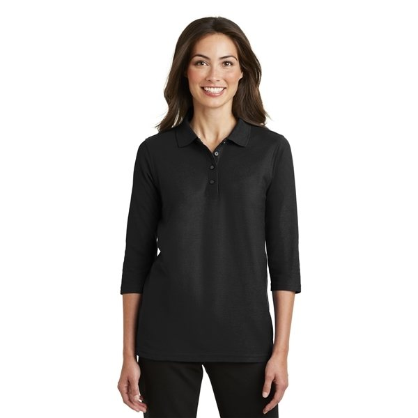 Promotional Port Authority Ladies Silk Touch 3/4- Sleeve Polo - COLORS