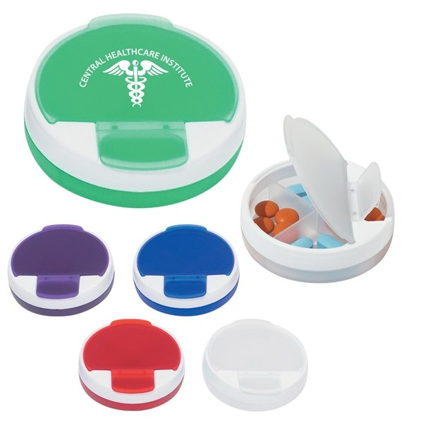 Promotional 4 Compartment Rotating Round Pill Holder