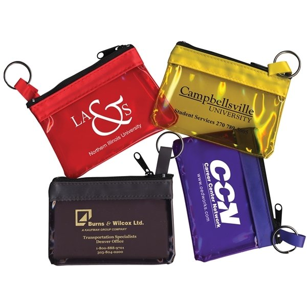 Promotional The RAINBOW Translucent / Crystal Clear Zip Pouch with Key Ring