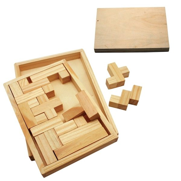 Promotional Eco - Friendly Wood Shapes Challenge Puzzle