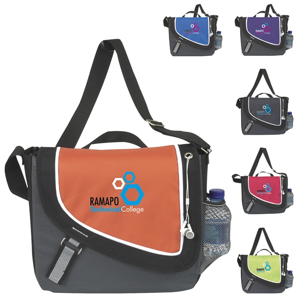 Promotional Polyester A Step Ahead Messenger Bag 13.5 X 12.25