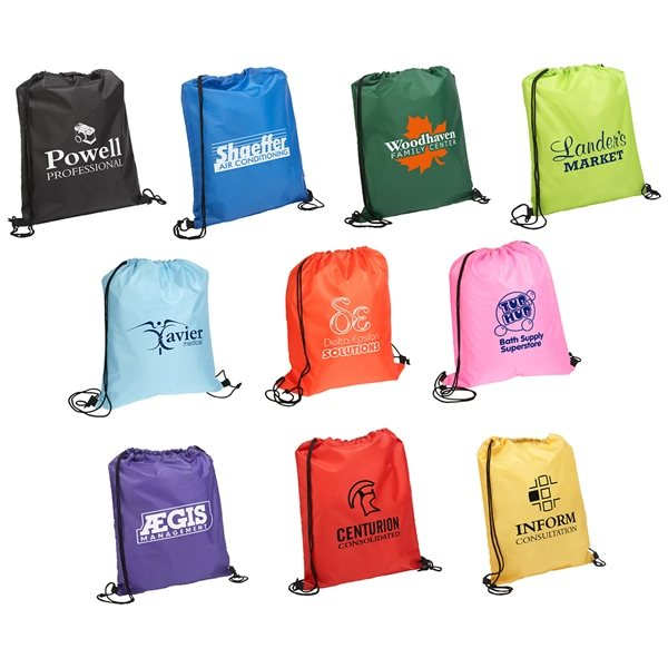 Promotional Quick - Sling Polyester Drawstring Backpack - 13.5 x 16.25
