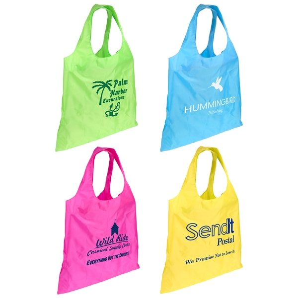 Promotional Polyester Multi Color Spring Sling Folding Tote Bag 16 X 16