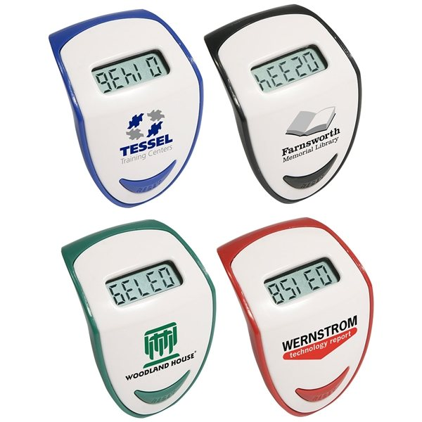 Promotional Step Hero 2 Tone Pedometer With Belt Clip