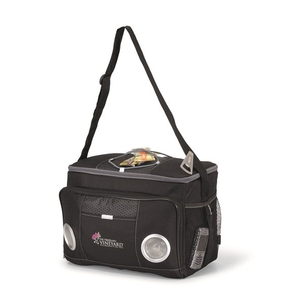 Promotional Polyester / Honeycomb Accent 24- Can Encore Music Cooler Bag Black